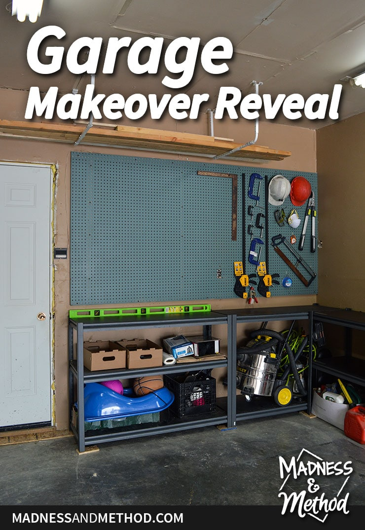 garage makeover reveal pinterest graphic