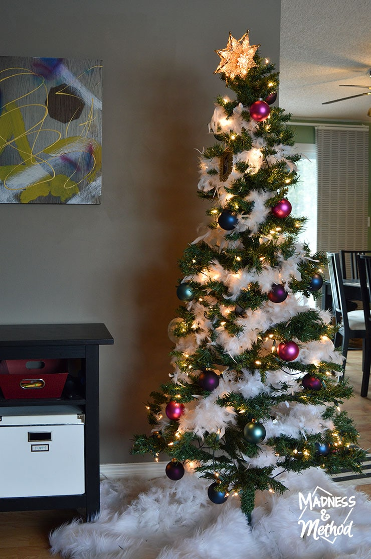 jewel-toned christmas tree in living room