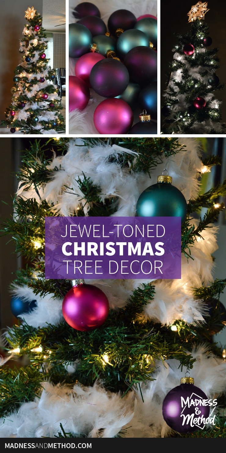 jewel-toned christmas tree decor graphic