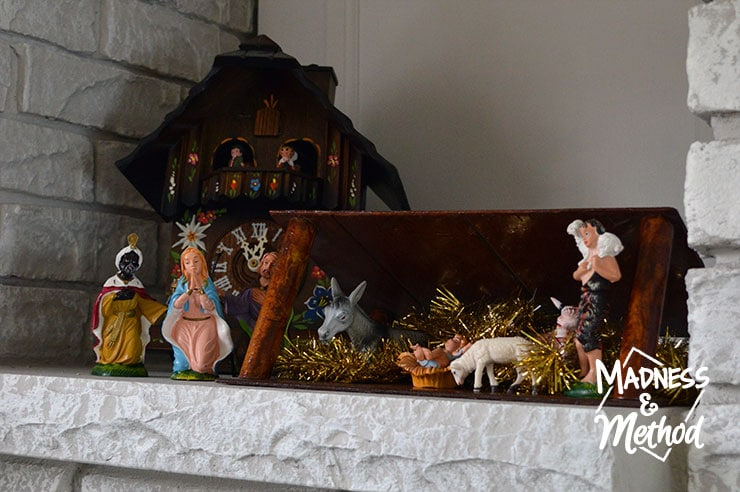 nativity scene and cuckoo clock
