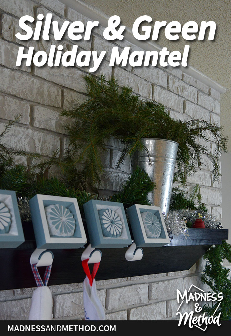 simple silver and green holiday mantel graphic
