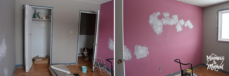 pink walls and room before