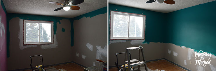 starting to paint deep teal in nursery