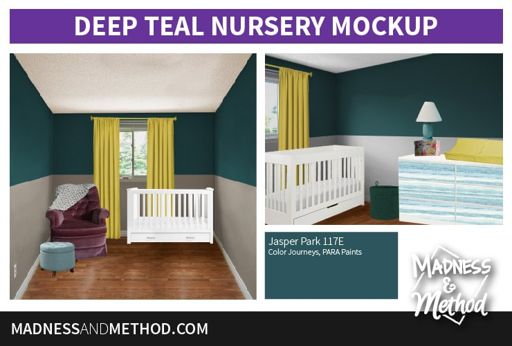deep teal nursery mockup
