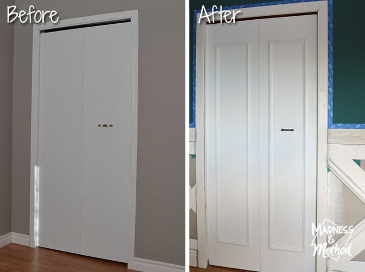 before and after closet door upgrade