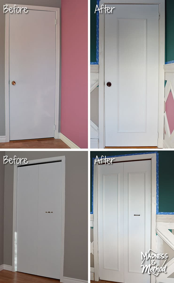 before and after flat doors upgraded with panel moulds
