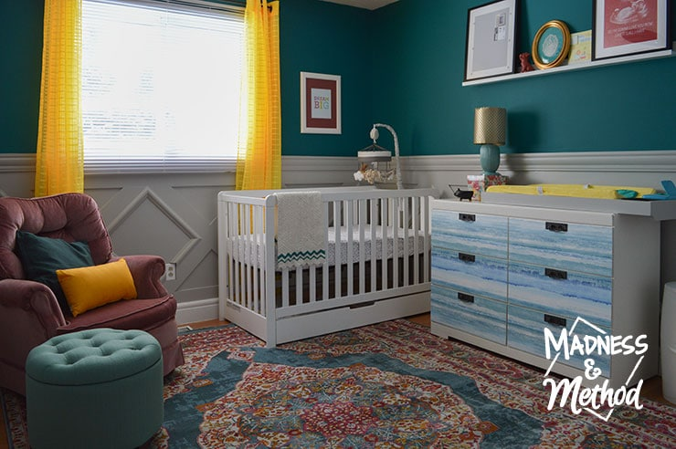 overview of dark teal nursery