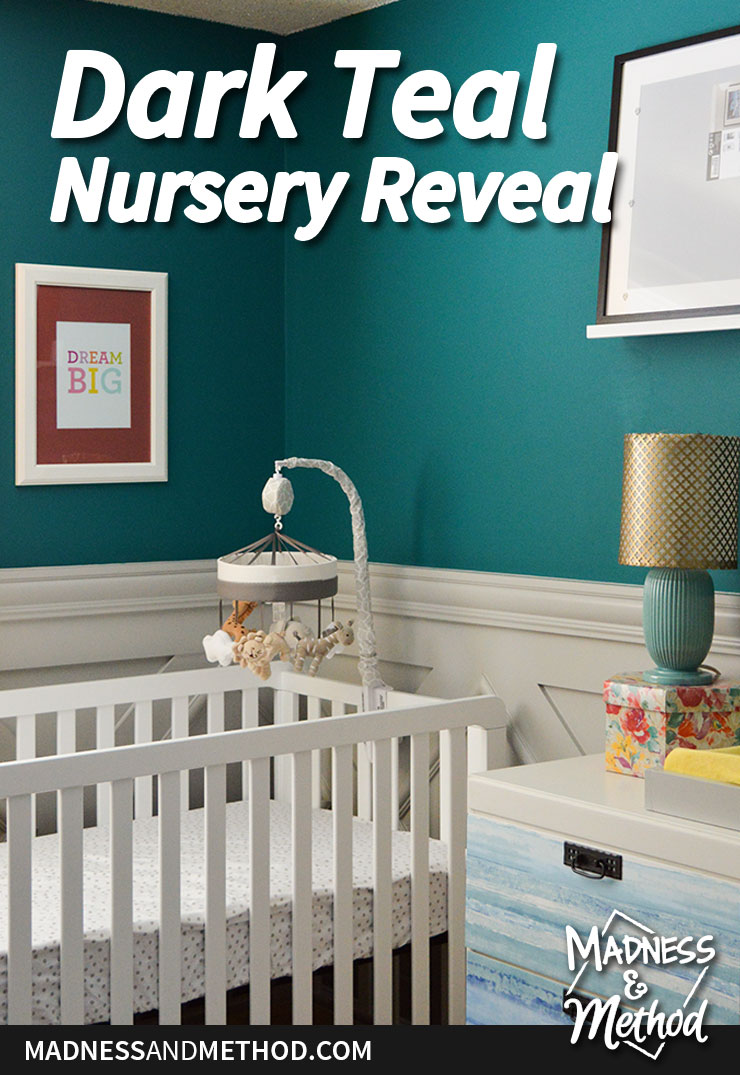 dark teal nursery reveal graphic