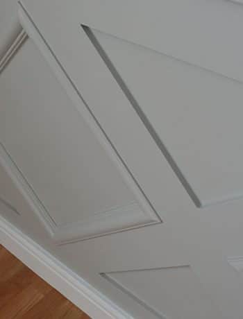 grey wainscoting in diamond pattern