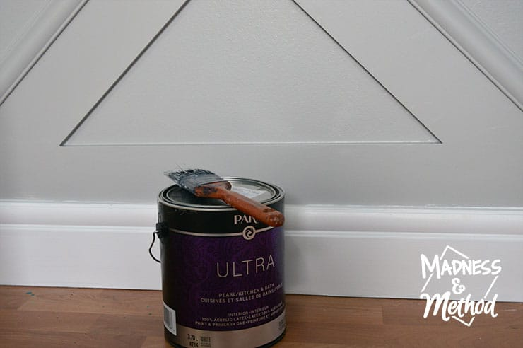 painting gray wainscoting with white baseboards