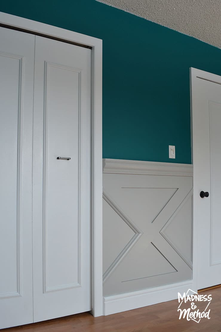 gray wainscoting with white doors