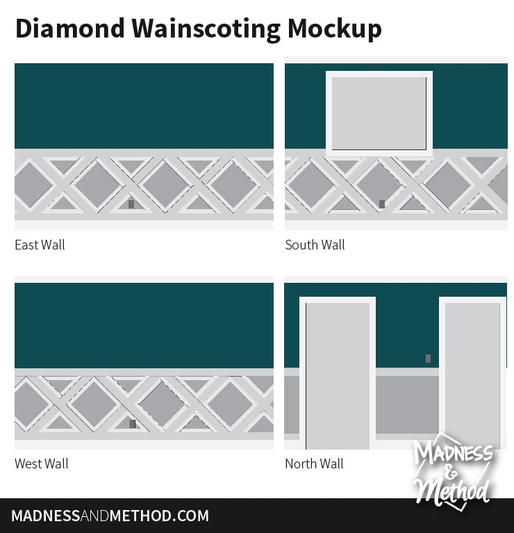 diamond wainscoting design mockup
