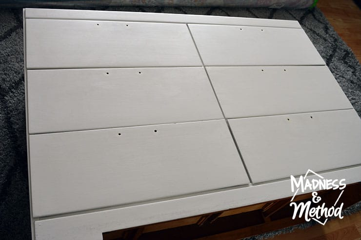 white dresser with hardware removed