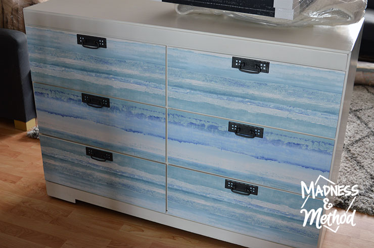 easy dresser makeover using removable wallpaper