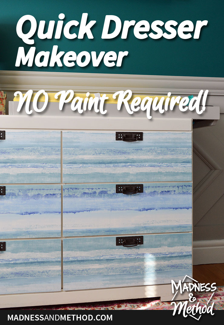 easy dresser makeover graphic