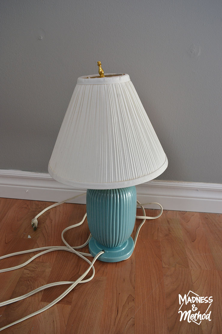 turquoise thrift store lamp