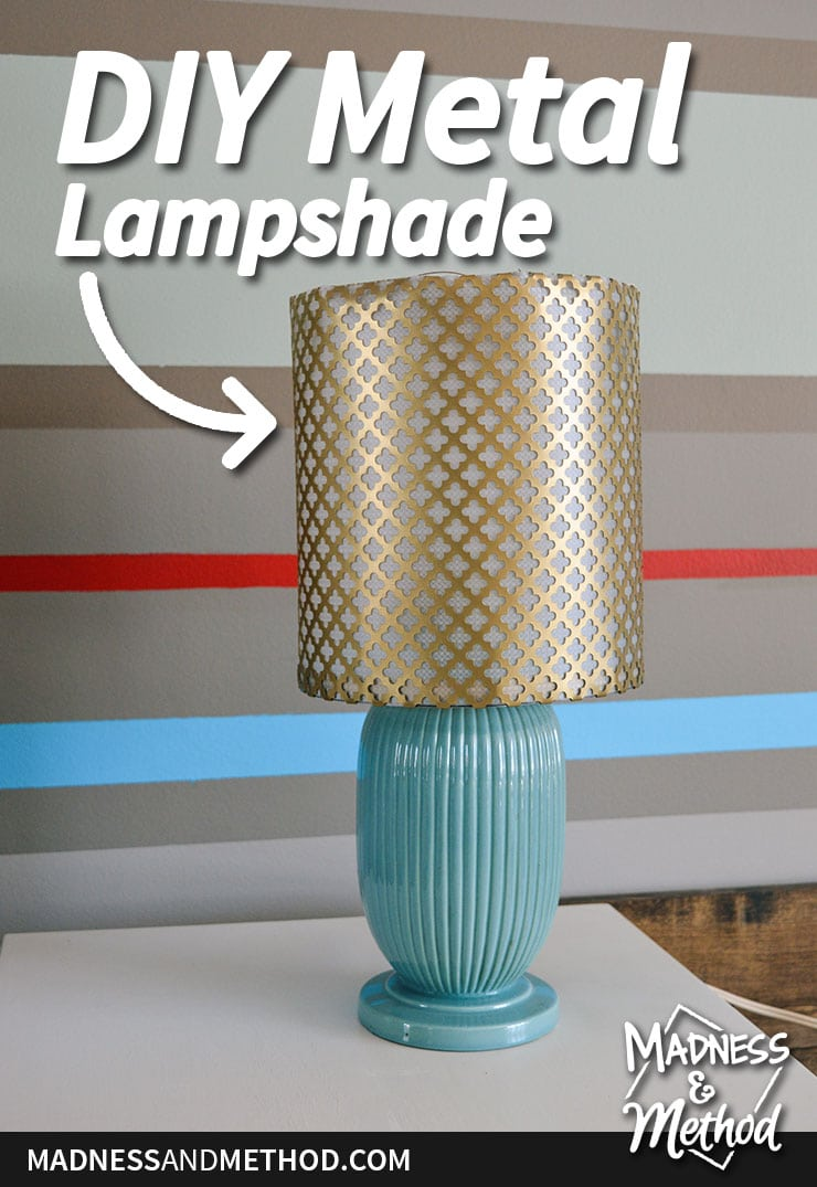 brass metal lampshade DIY graphic