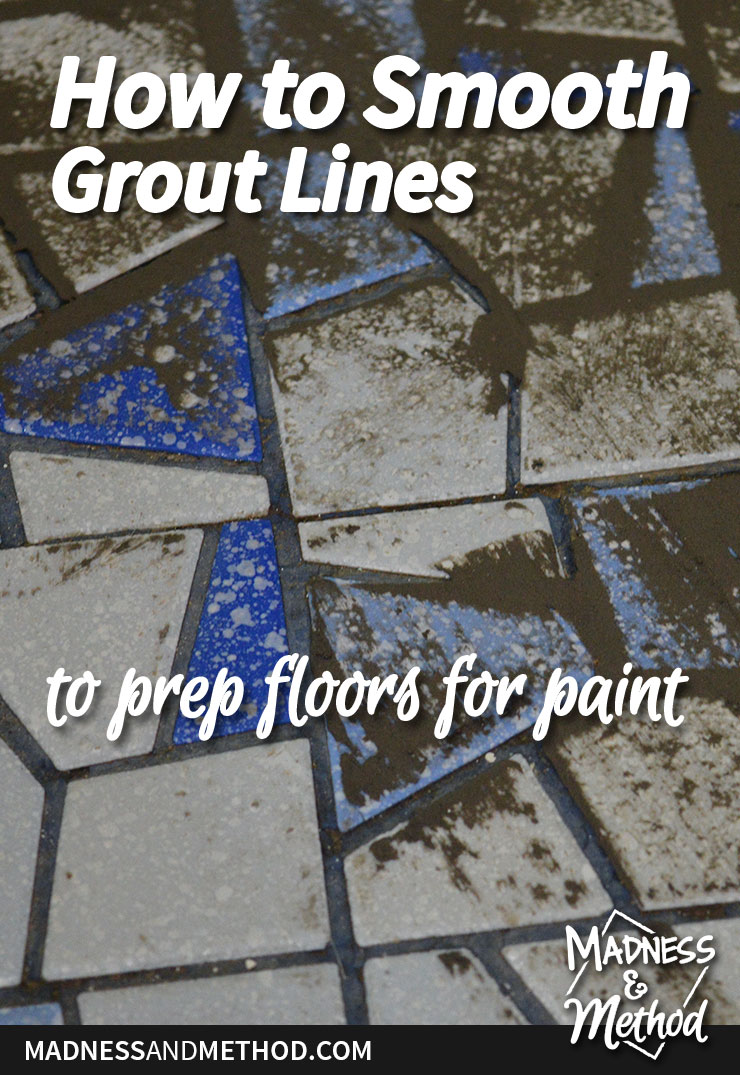 how to smooth grout lines to prep floors for paint