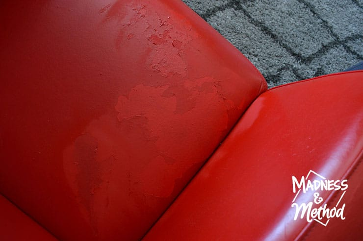sprayed red leather chair