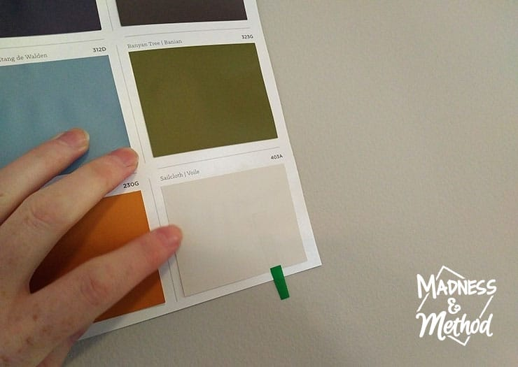 comparing paint swatch to walls