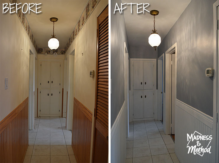 before and after hallway transformation