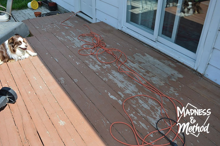 worn deck before