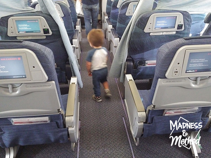 toddler on airplane