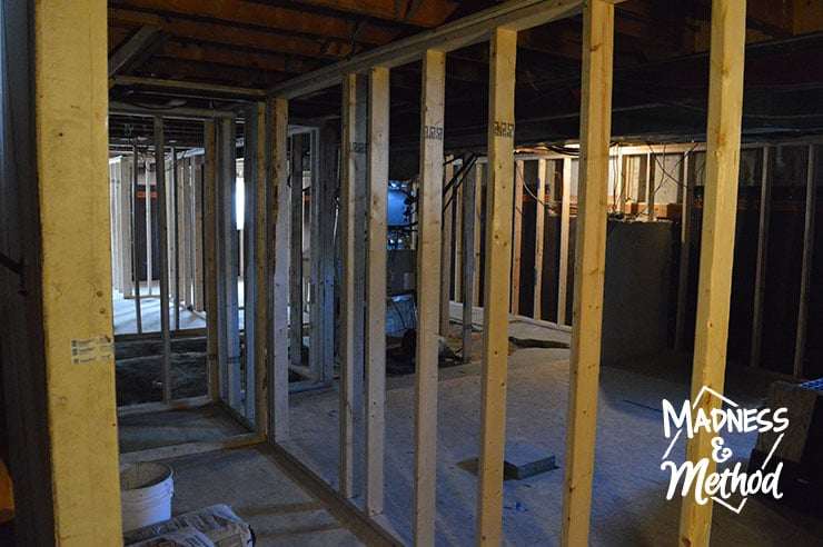 shared entrance framing in basement apartment