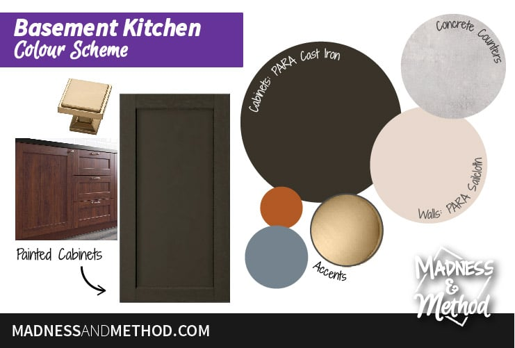 basement kitchen design colour scheme