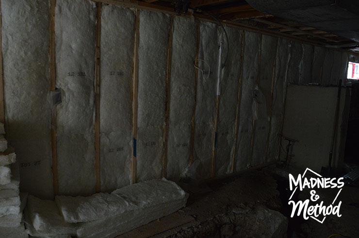 basement kitchen progress walls