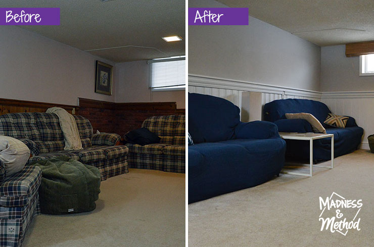 basement living before after