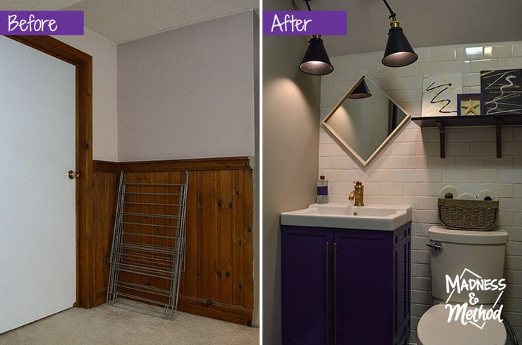 basement bath before after