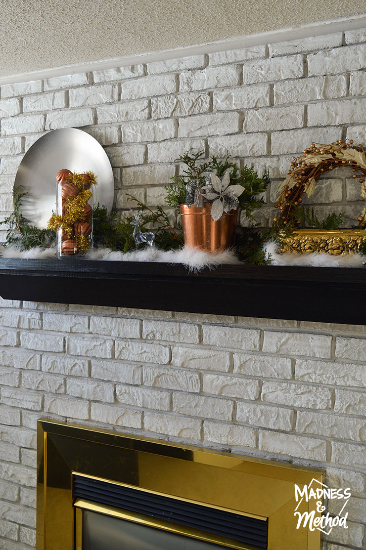 mixed metal christmas mantel decor