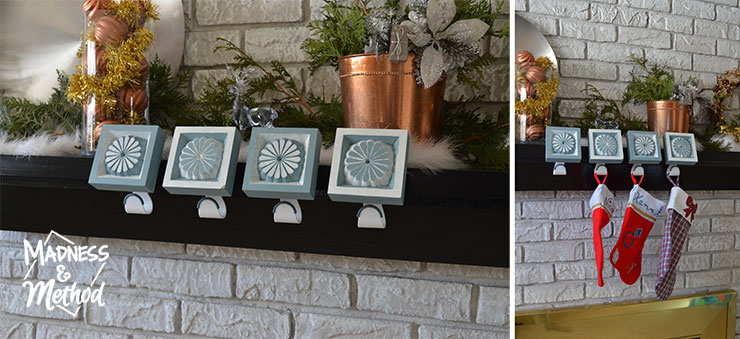 stocking holders on mantel