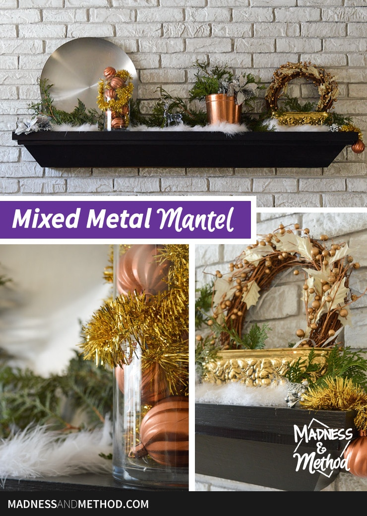 mixed metal mantel decor graphic