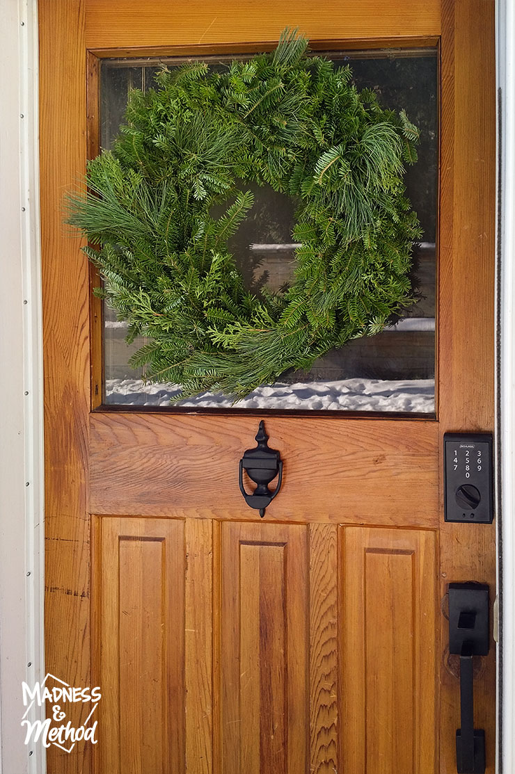 wreath on wood door