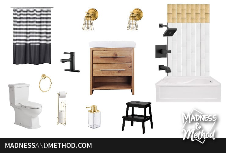 glam black and gold bathroom moodboard