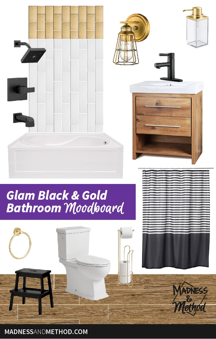 glam black and gold bathroom moodboard graphic