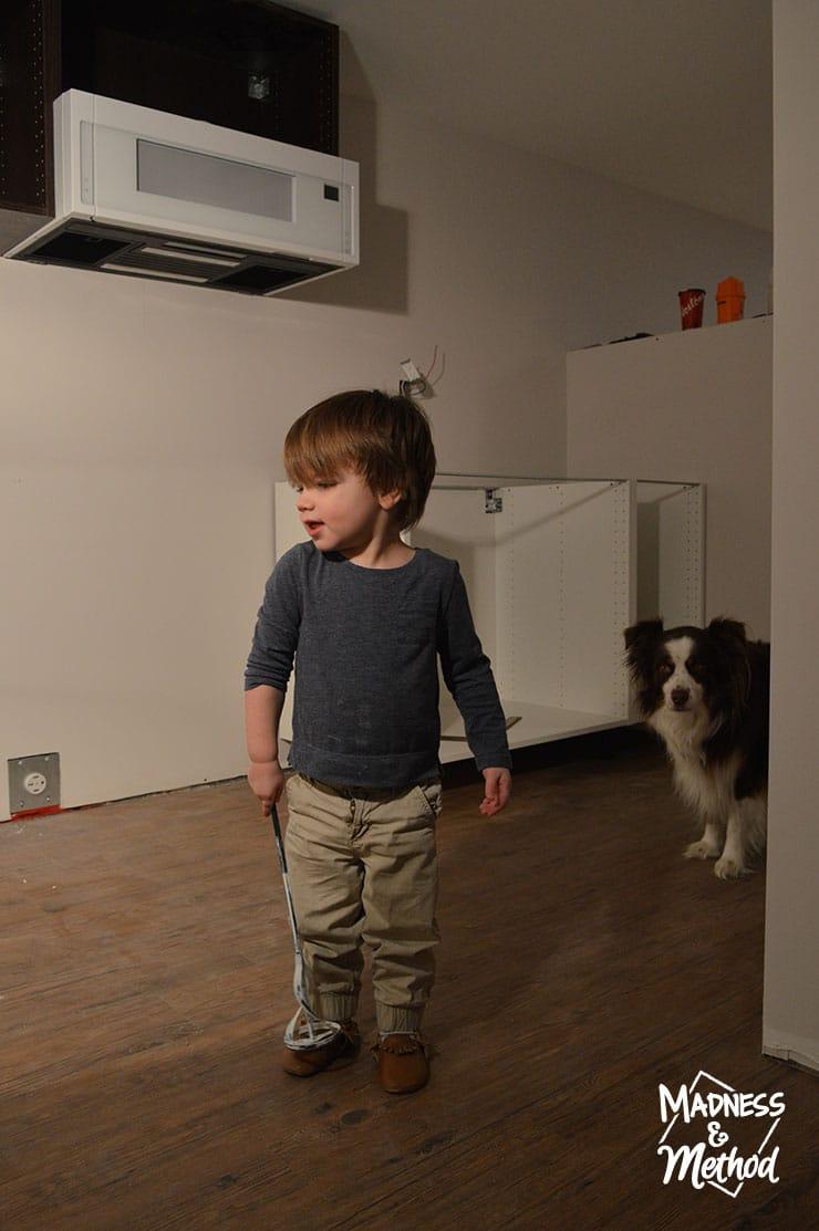 helpers installing ikea cabinets