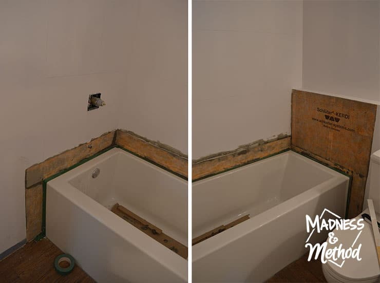 installing kerdi band in bathtub