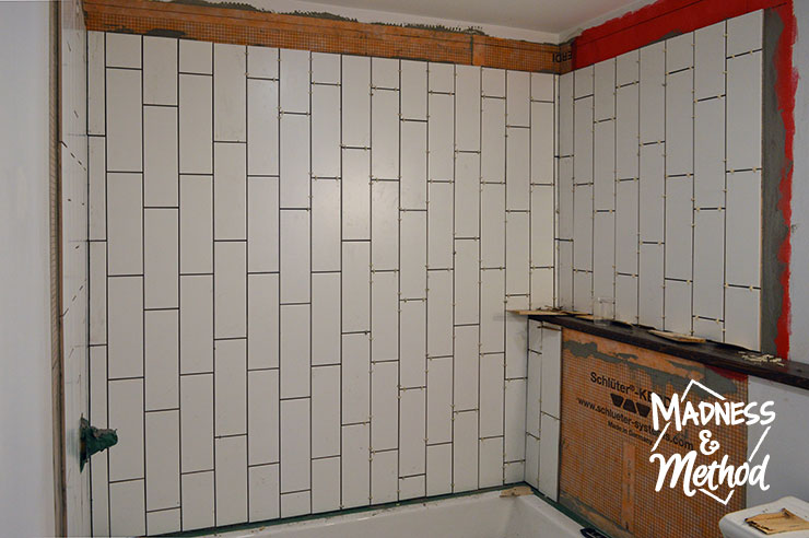 vertical subway tile in bathroom