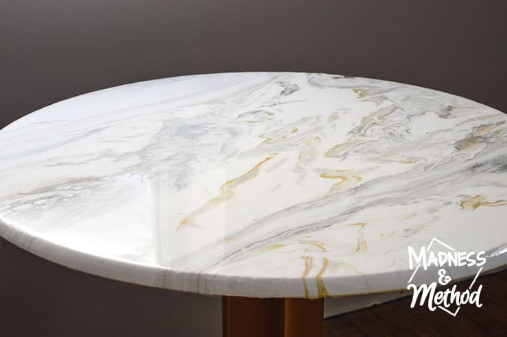 paint pour marble table glossy