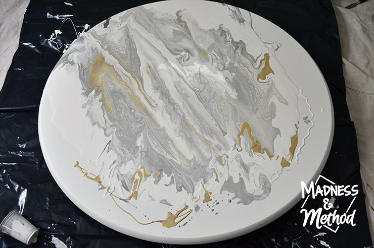 paint pour marble table setup