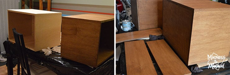 staining maple nightstands