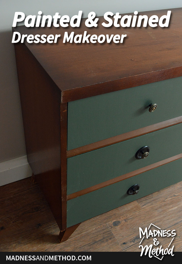 painted and stained dresser makeover
