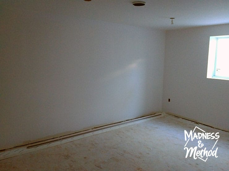 basement bedroom drywall