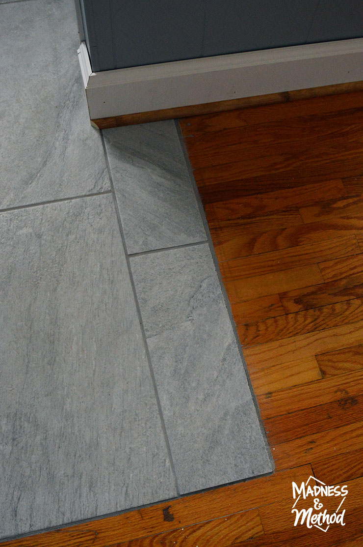 tile to hardwood grout transition