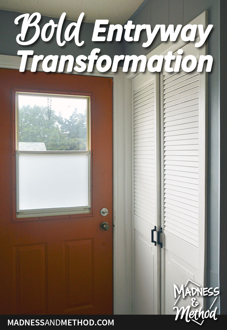 entryway transformation with orange door