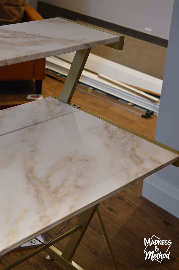 marble wallpaper desk makeover