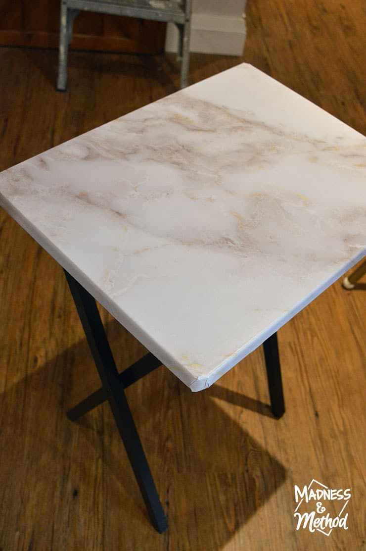 marble wallpaper side table